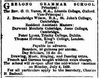 Geelong Grammar School advertisement_Argus_4 July 1859, p.8