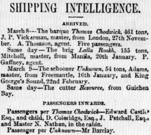 Adelaide Times. 10 March 1851, p. 2.