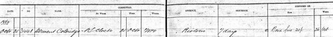 Darlinghurst Gaol log book, 25 October 1869.