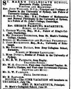 St Mark's Collegiate School. Advertisement, Sydney Morning Herald, 6 Jul 1864: 6